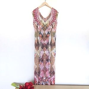 Beautiful One World maxi gown in gold & pink